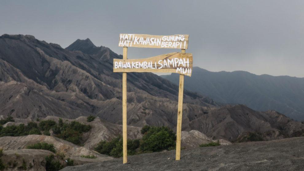 Panneau sur le Mont Bromo